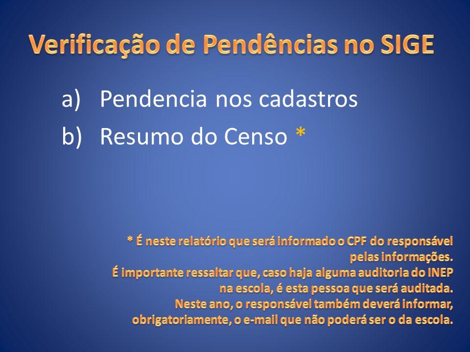a)Pendencia nos cadastros b)Resumo do Censo *