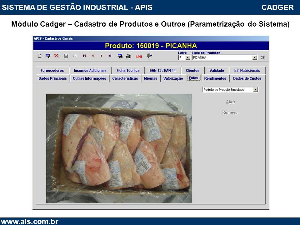 SISTEMA DE GESTÃO INDUSTRIAL - APIS www.ais.com.br Módulo Cadger – Cadastro de Produtos e Outros (Parametrização do Sistema) CADGER