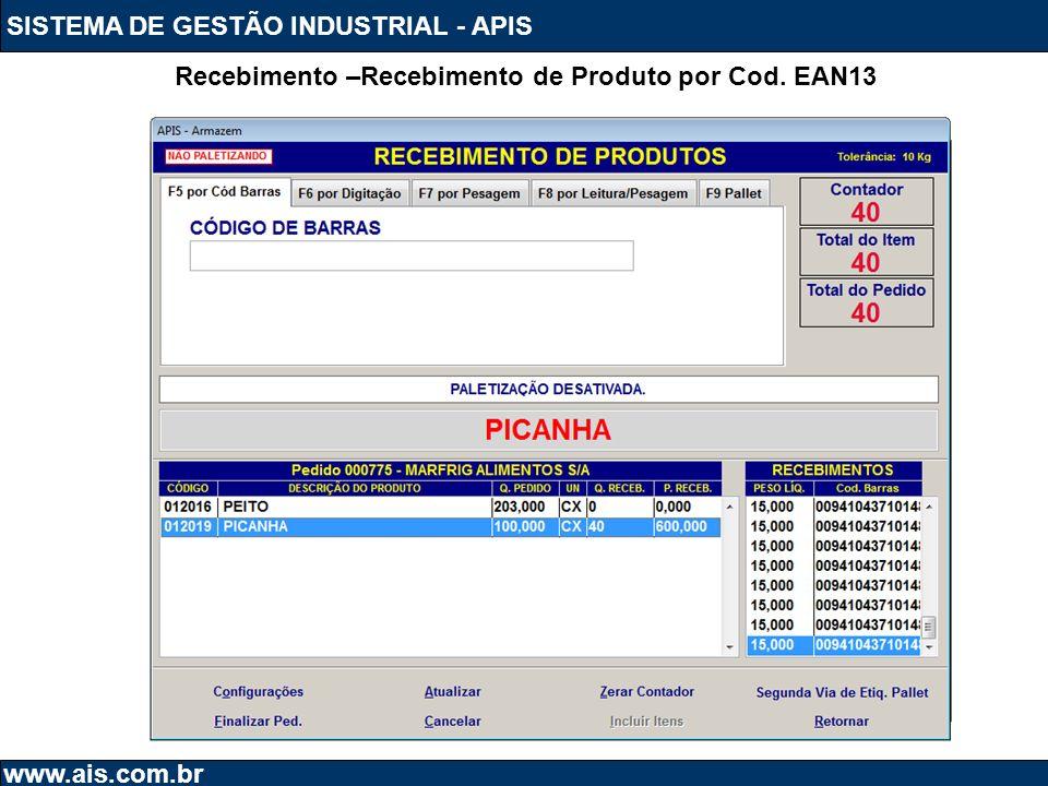 SISTEMA DE GESTÃO INDUSTRIAL - APIS www.ais.com.br Recebimento –Recebimento de Produto por Cod. EAN13