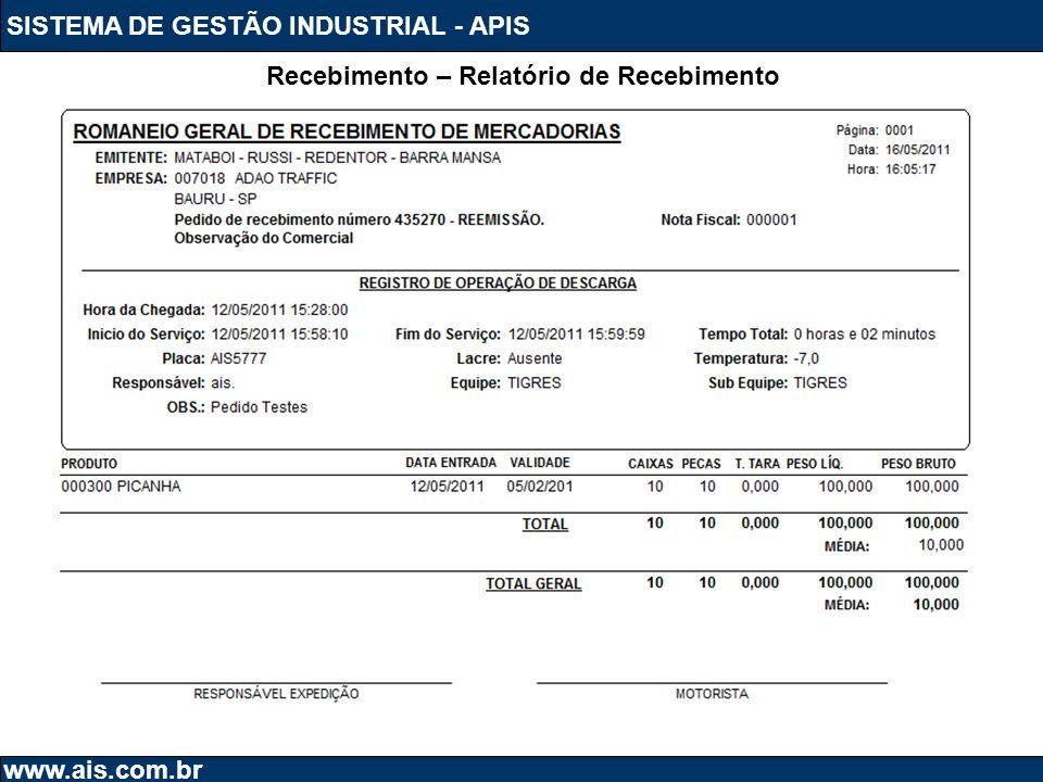 SISTEMA DE GESTÃO INDUSTRIAL - APIS www.ais.com.br Recebimento – Relatório de Recebimento