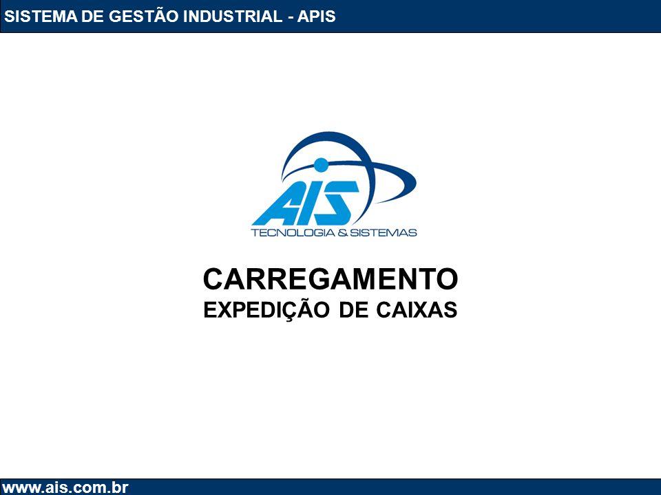 SISTEMA DE GESTÃO INDUSTRIAL - APIS www.ais.com.br CARREGAMENTO EXPEDIÇÃO DE CAIXAS