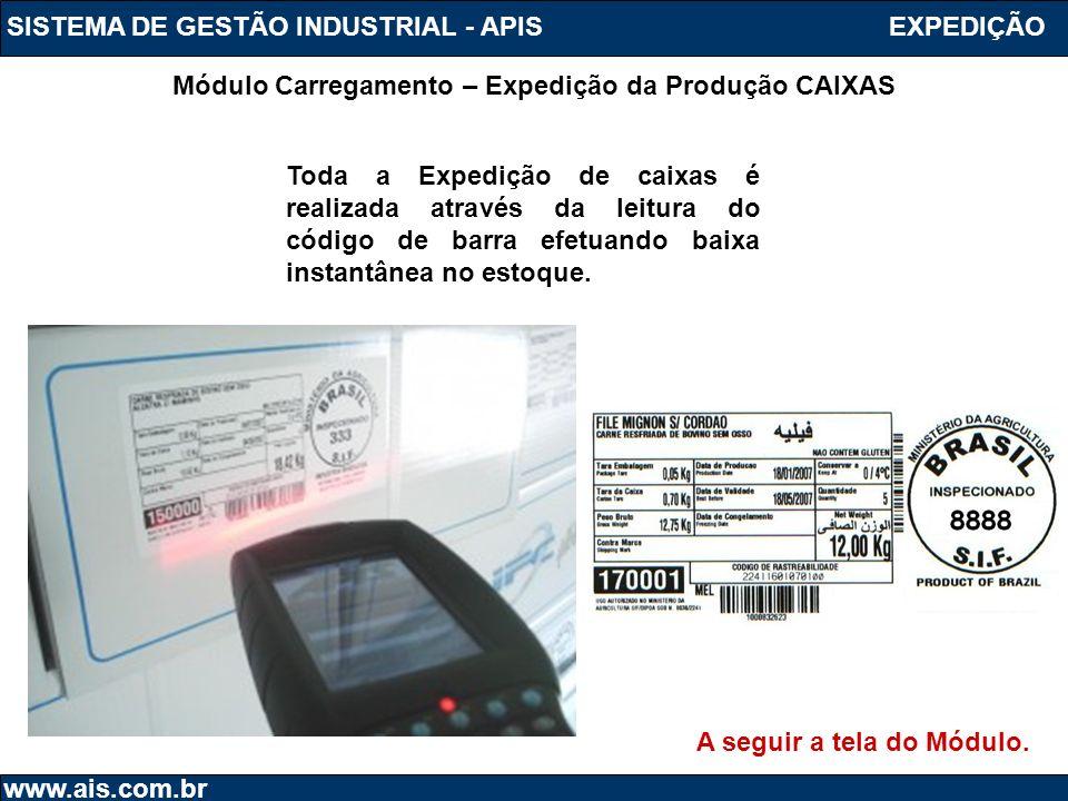 SISTEMA DE GESTÃO INDUSTRIAL - APIS www.ais.com.br Módulo Carregamento – Expedição da Produção CAIXAS EXPEDIÇÃO Toda a Expedição de caixas é realizada