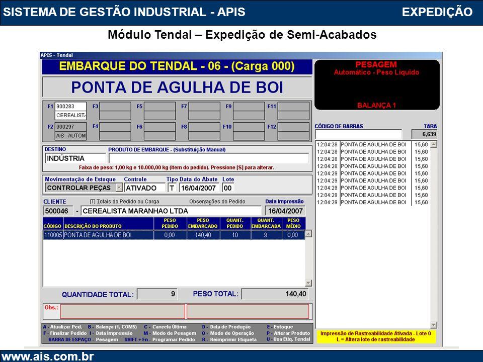 SISTEMA DE GESTÃO INDUSTRIAL - APIS www.ais.com.br Módulo Tendal – Expedição de Semi-Acabados EXPEDIÇÃO