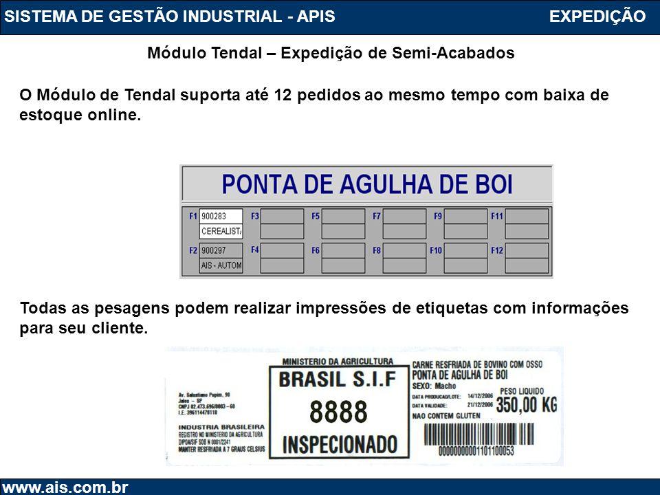 SISTEMA DE GESTÃO INDUSTRIAL - APIS www.ais.com.br Módulo Tendal – Expedição de Semi-Acabados EXPEDIÇÃO O Módulo de Tendal suporta até 12 pedidos ao m