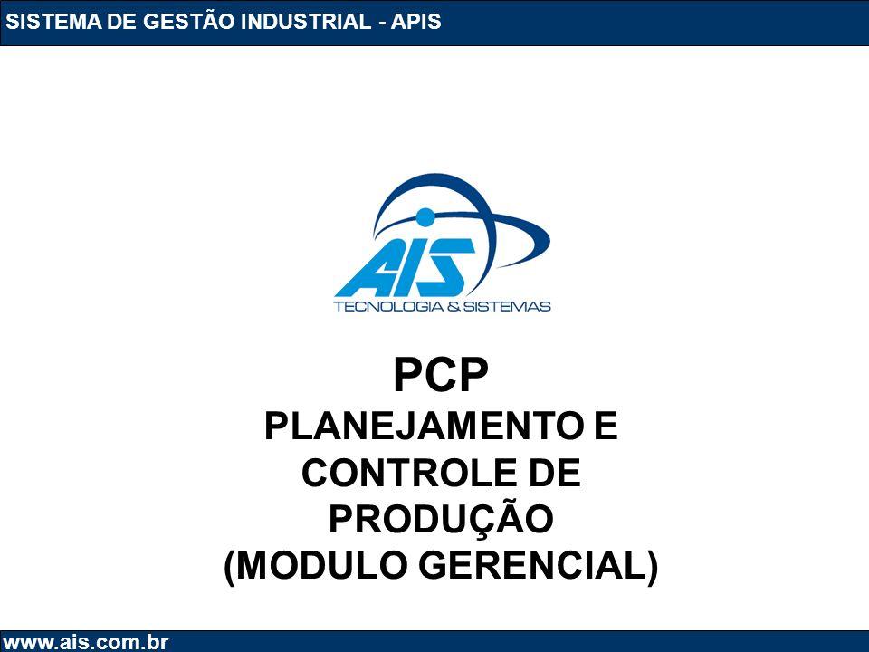 SISTEMA DE GESTÃO INDUSTRIAL - APIS www.ais.com.br PCP PLANEJAMENTO E CONTROLE DE PRODUÇÃO (MODULO GERENCIAL)