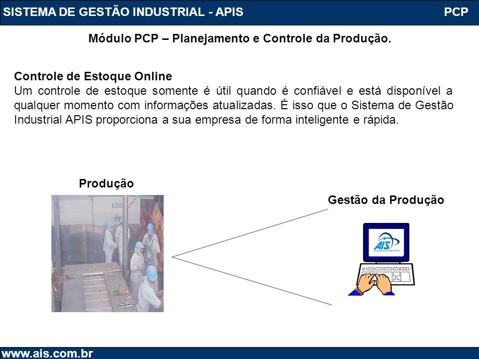 SISTEMA DE GESTÃO INDUSTRIAL - APIS www.ais.com.br Módulo PCP – Planejamento e Controle da Produção. PCP Controle de Estoque Online Um controle de est