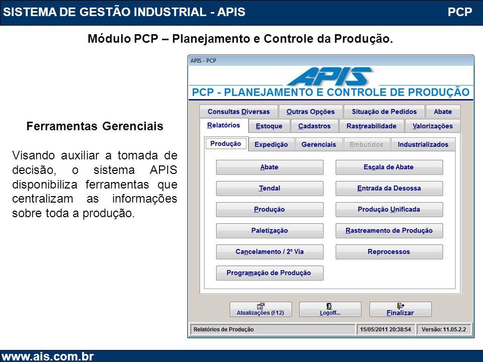 SISTEMA DE GESTÃO INDUSTRIAL - APIS www.ais.com.br Módulo PCP – Planejamento e Controle da Produção. PCP Ferramentas Gerenciais Visando auxiliar a tom