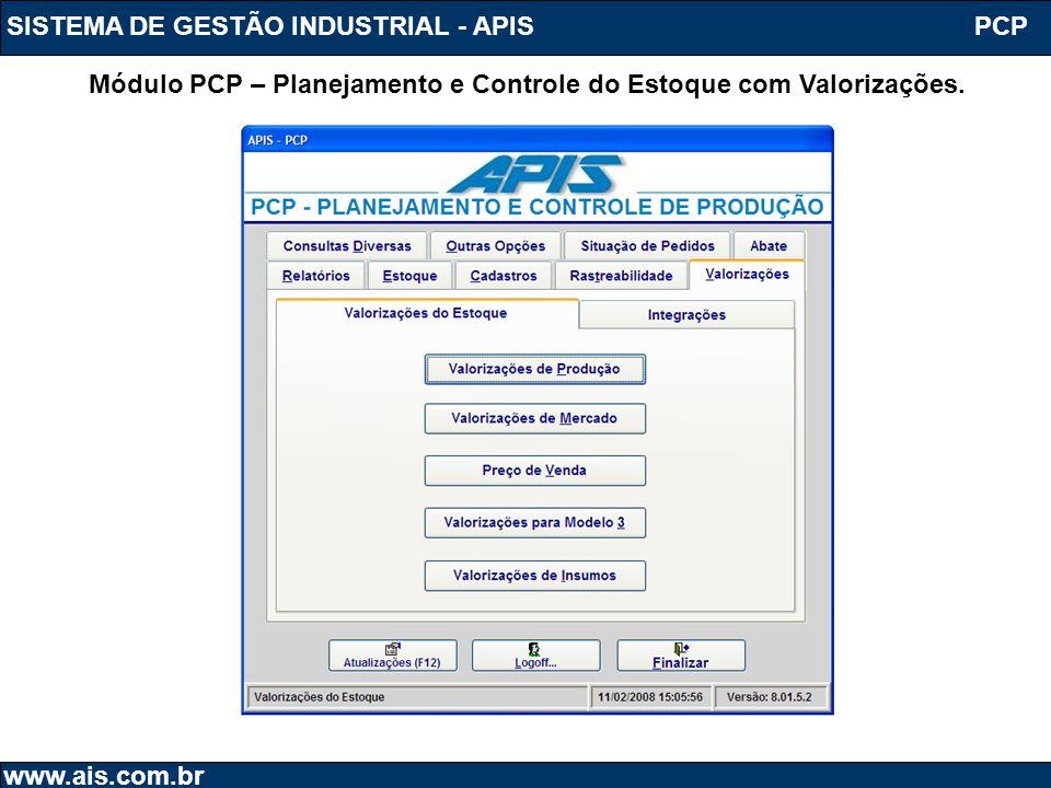 SISTEMA DE GESTÃO INDUSTRIAL - APIS www.ais.com.br Módulo PCP – Planejamento e Controle do Estoque com Valorizações. PCP
