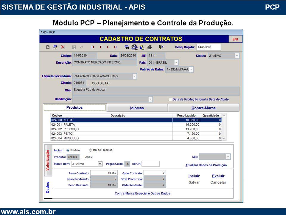 SISTEMA DE GESTÃO INDUSTRIAL - APIS www.ais.com.br PCP Módulo PCP – Planejamento e Controle da Produção.