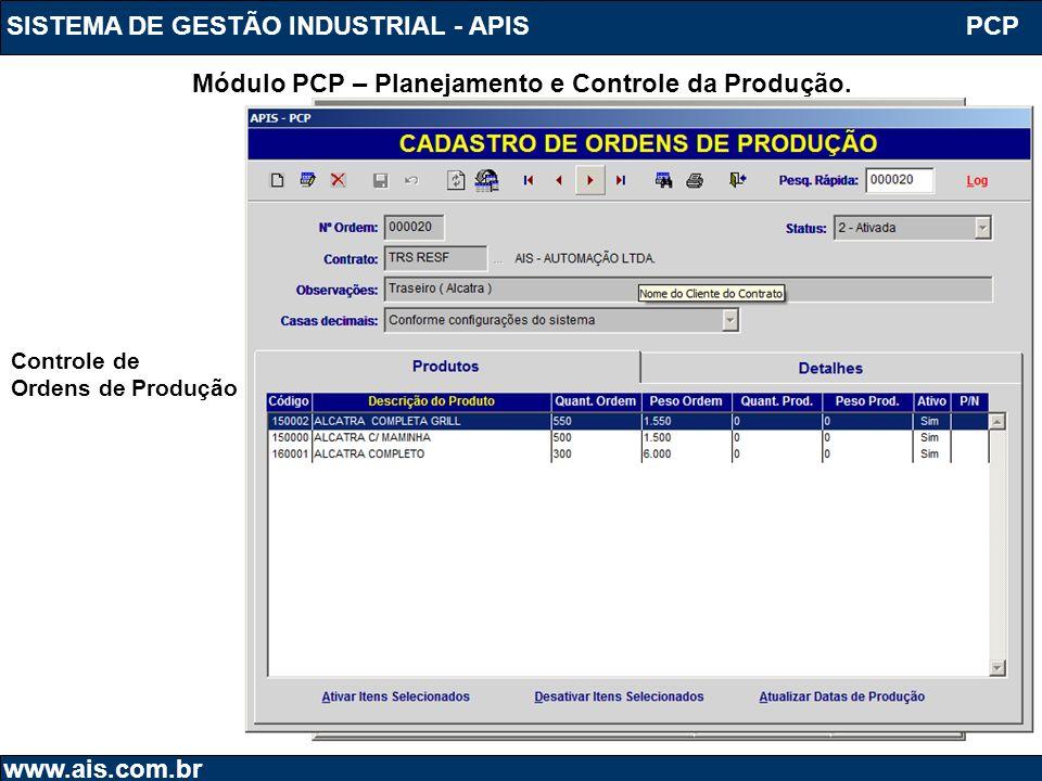 SISTEMA DE GESTÃO INDUSTRIAL - APIS www.ais.com.br PCP Módulo PCP – Planejamento e Controle da Produção. Controle de Ordens de Produção