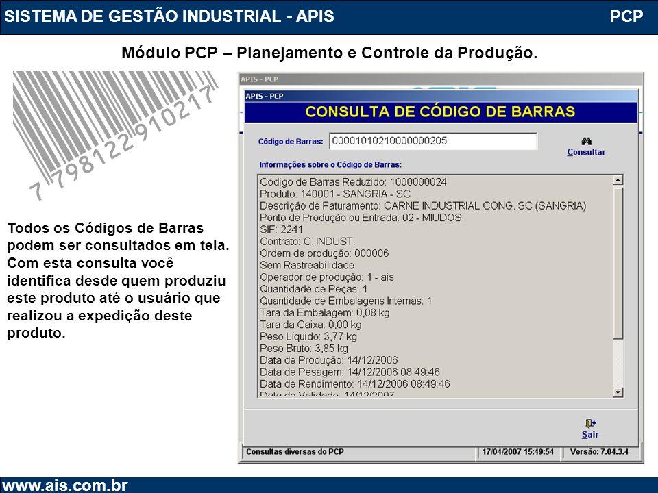 SISTEMA DE GESTÃO INDUSTRIAL - APIS www.ais.com.br PCP Módulo PCP – Planejamento e Controle da Produção. Todos os Códigos de Barras podem ser consulta