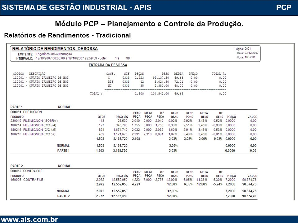 SISTEMA DE GESTÃO INDUSTRIAL - APIS www.ais.com.br PCP Módulo PCP – Planejamento e Controle da Produção. Relatórios de Rendimentos - Tradicional