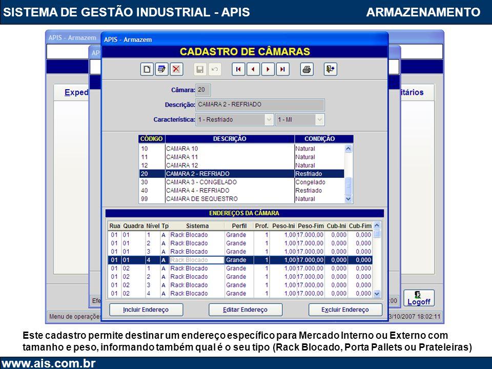 SISTEMA DE GESTÃO INDUSTRIAL - APIS www.ais.com.br ARMAZENAMENTO Este cadastro permite destinar um endereço específico para Mercado Interno ou Externo