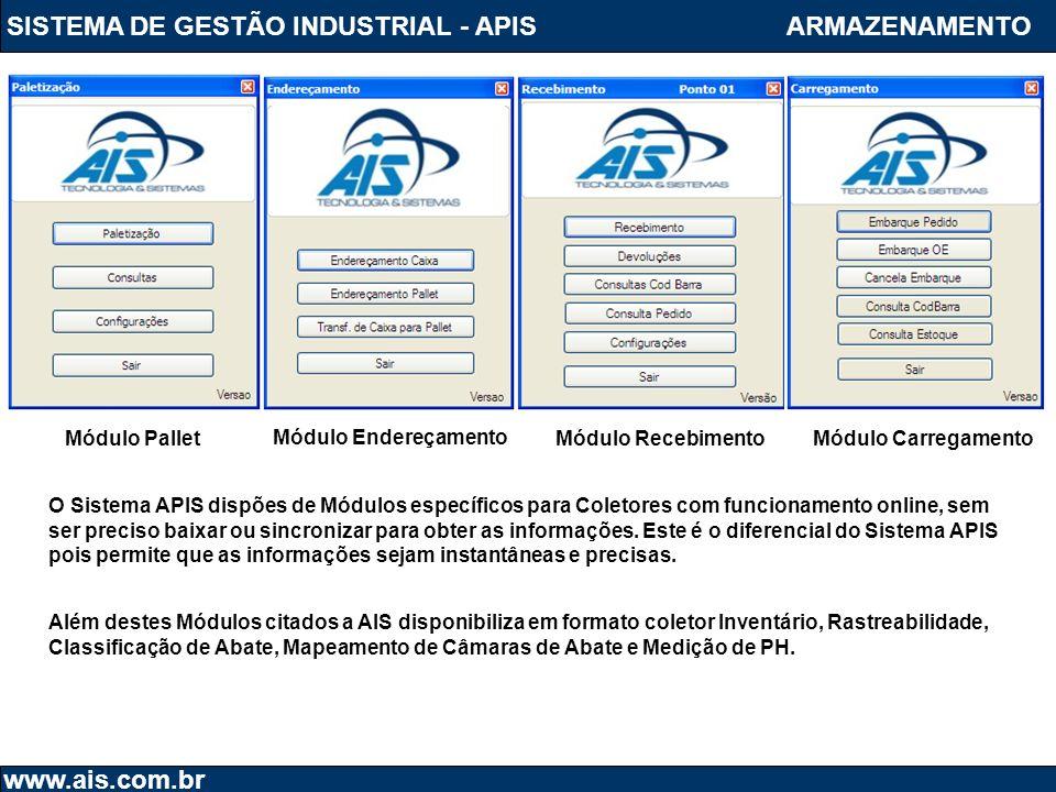SISTEMA DE GESTÃO INDUSTRIAL - APIS www.ais.com.br ARMAZENAMENTO Além destes Módulos citados a AIS disponibiliza em formato coletor Inventário, Rastre
