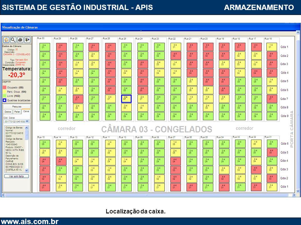 SISTEMA DE GESTÃO INDUSTRIAL - APIS www.ais.com.br ARMAZENAMENTO Localização da caixa.
