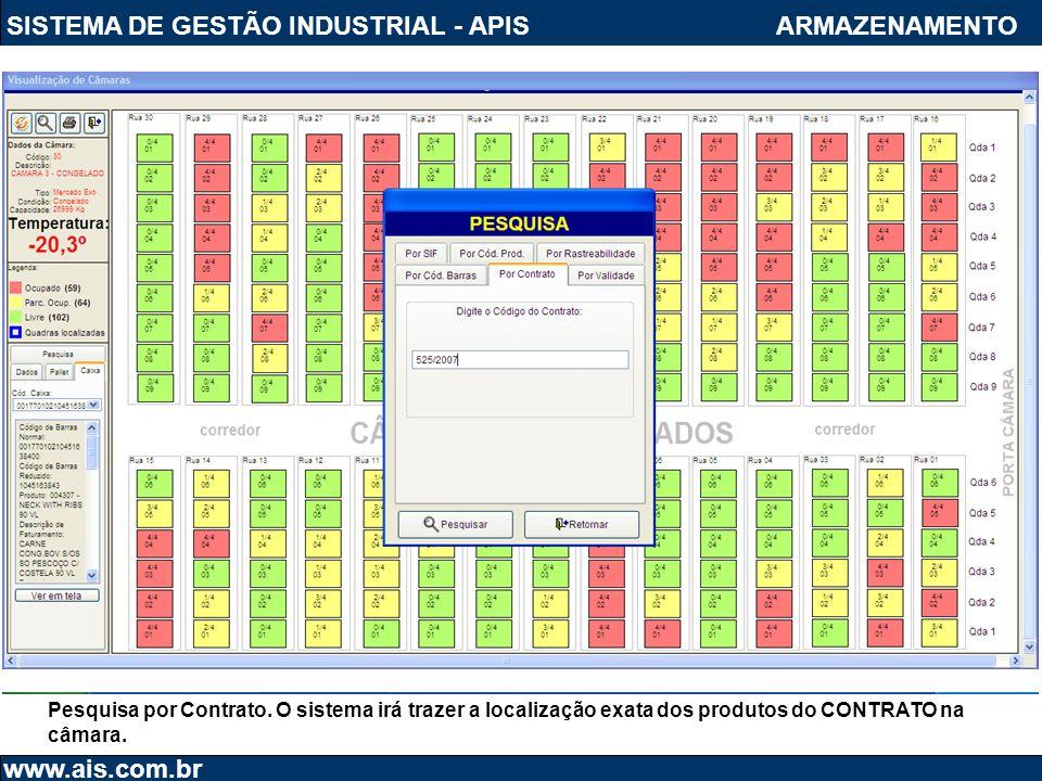 SISTEMA DE GESTÃO INDUSTRIAL - APIS www.ais.com.br ARMAZENAMENTO Pesquisa por Contrato. O sistema irá trazer a localização exata dos produtos do CONTR