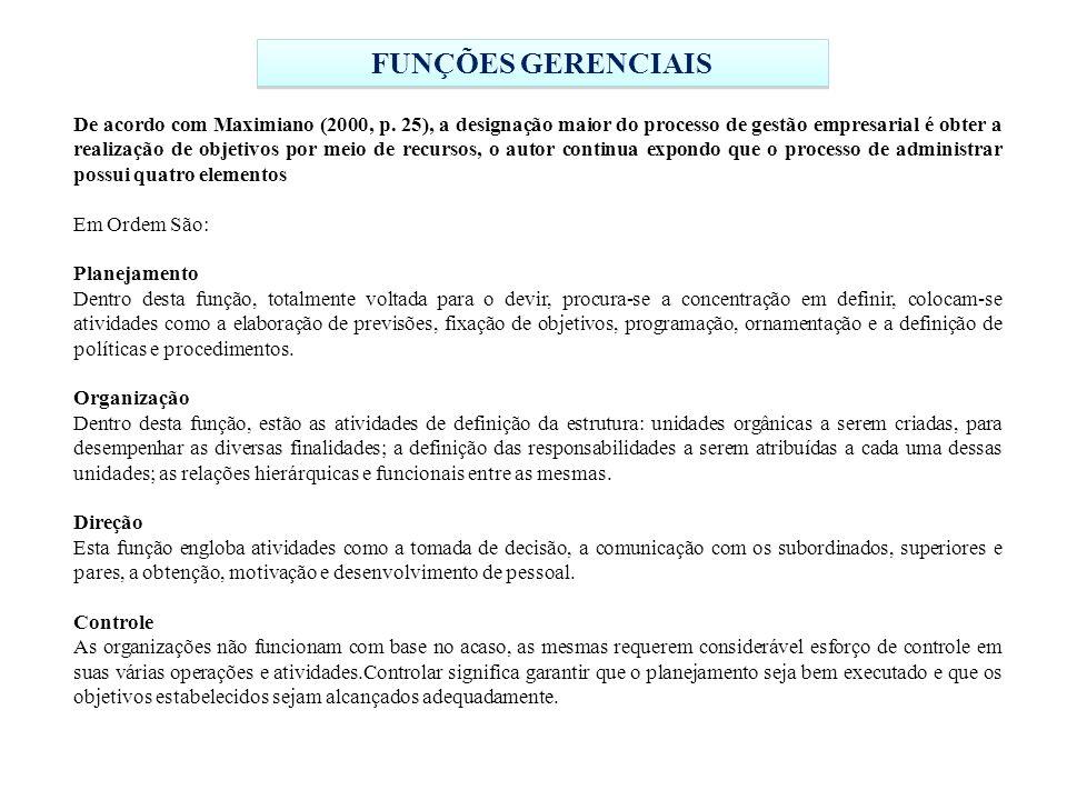 FUNÇÕES GERENCIAIS De acordo com Maximiano (2000, p.