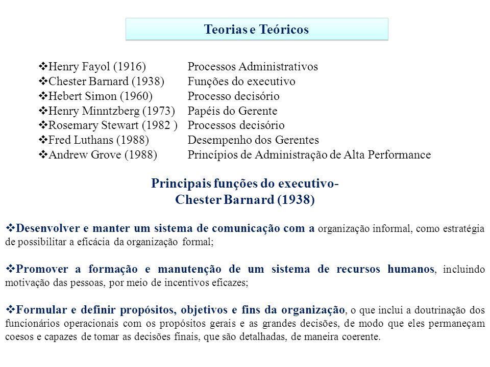 Henry Fayol (1916) Processos Administrativos Chester Barnard (1938) Funções do executivo Hebert Simon (1960) Processo decisório Henry Minntzberg (1973) Papéis do Gerente Rosemary Stewart (1982 ) Processos decisório Fred Luthans (1988) Desempenho dos Gerentes Andrew Grove (1988) Princípios de Administração de Alta Performance Teorias e Teóricos Principais funções do executivo- Chester Barnard (1938) Desenvolver e manter um sistema de comunicação com a organização informal, como estratégia de possibilitar a eficácia da organização formal; Promover a formação e manutenção de um sistema de recursos humanos, incluindo motivação das pessoas, por meio de incentivos eficazes; Formular e definir propósitos, objetivos e fins da organização, o que inclui a doutrinação dos funcionários operacionais com os propósitos gerais e as grandes decisões, de modo que eles permaneçam coesos e capazes de tomar as decisões finais, que são detalhadas, de maneira coerente.