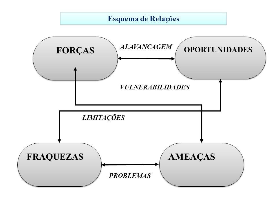 FORÇAS OPORTUNIDADES ALAVANCAGEM FRAQUEZAS AMEAÇAS PROBLEMAS LIMITAÇÕES VULNERABILIDADES Esquema de Relações