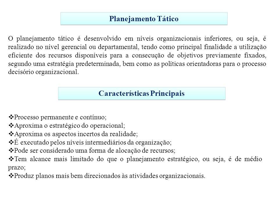 Planejamento Tático O planejamento tático é desenvolvido em níveis organizacionais inferiores, ou seja, é realizado no nível gerencial ou departamenta
