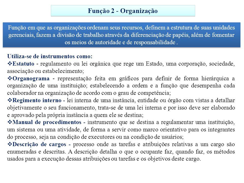 Função 2 - Organização Função em que as organizações ordenam seus recursos, definem a estrutura de suas unidades gerenciais, fazem a divisão de trabal