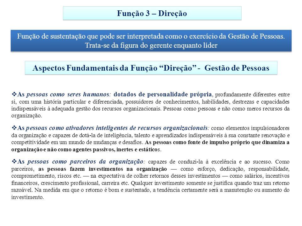 Função 3 – Direção Função de sustentação que pode ser interpretada como o exercício da Gestão de Pessoas. Trata-se da figura do gerente enquanto líder