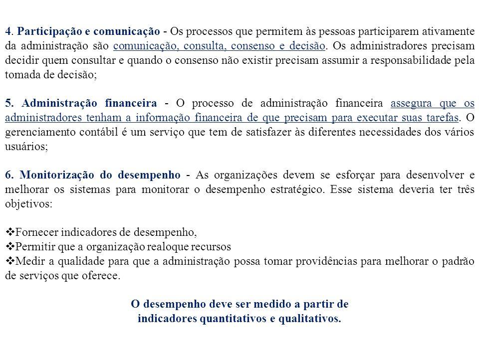4. Participação e comunicação - Os processos que permitem às pessoas participarem ativamente da administração são comunicação, consulta, consenso e de