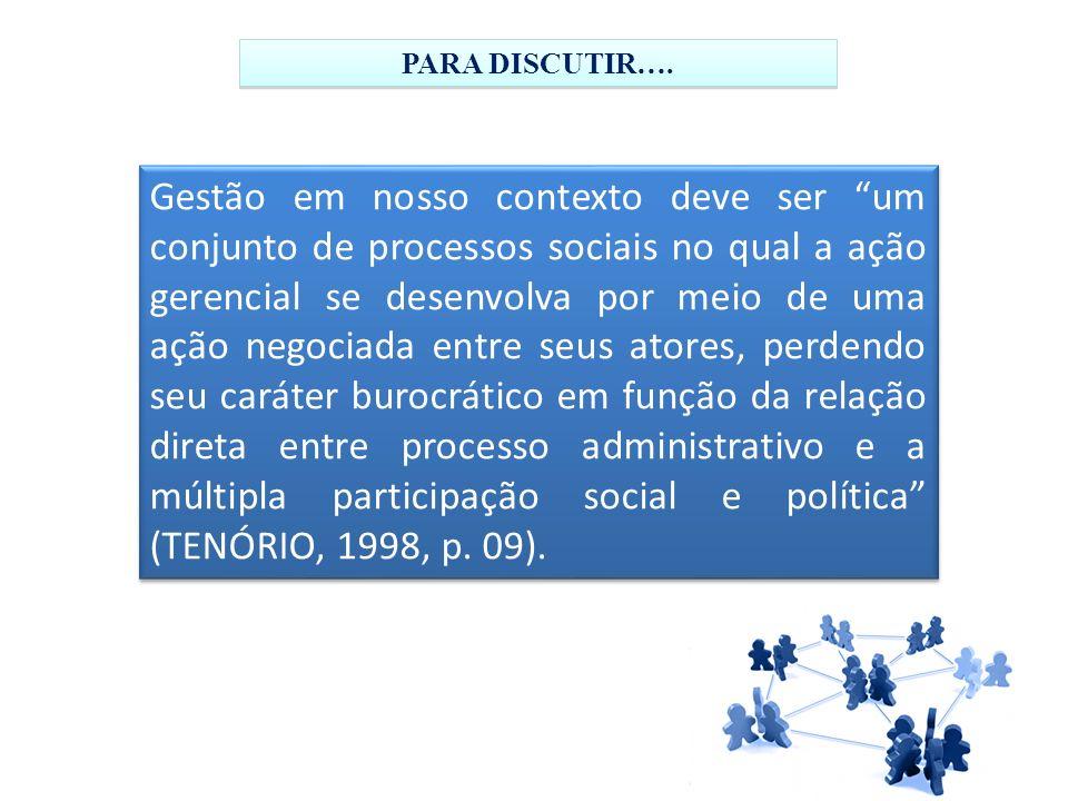Gestão em nosso contexto deve ser um conjunto de processos sociais no qual a ação gerencial se desenvolva por meio de uma ação negociada entre seus at