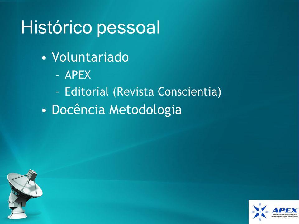 Histórico pessoal Voluntariado –APEX –Editorial (Revista Conscientia) Docência Metodologia
