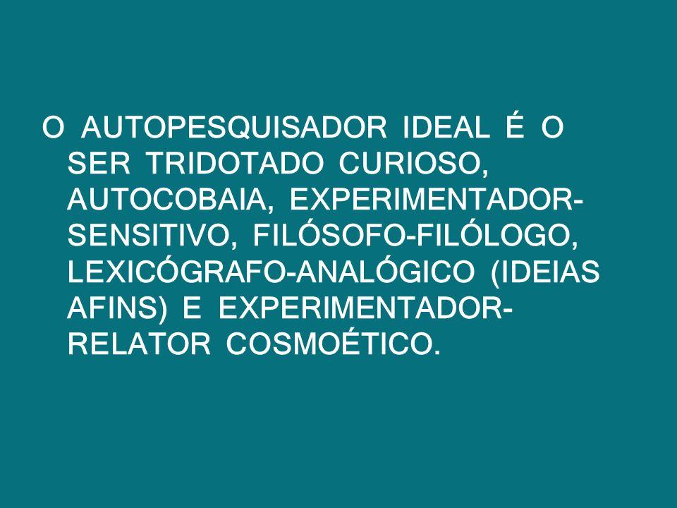 O AUTOPESQUISADOR IDEAL É O SER TRIDOTADO CURIOSO, AUTOCOBAIA, EXPERIMENTADOR- SENSITIVO, FILÓSOFO-FILÓLOGO, LEXICÓGRAFO-ANALÓGICO (IDEIAS AFINS) E EX