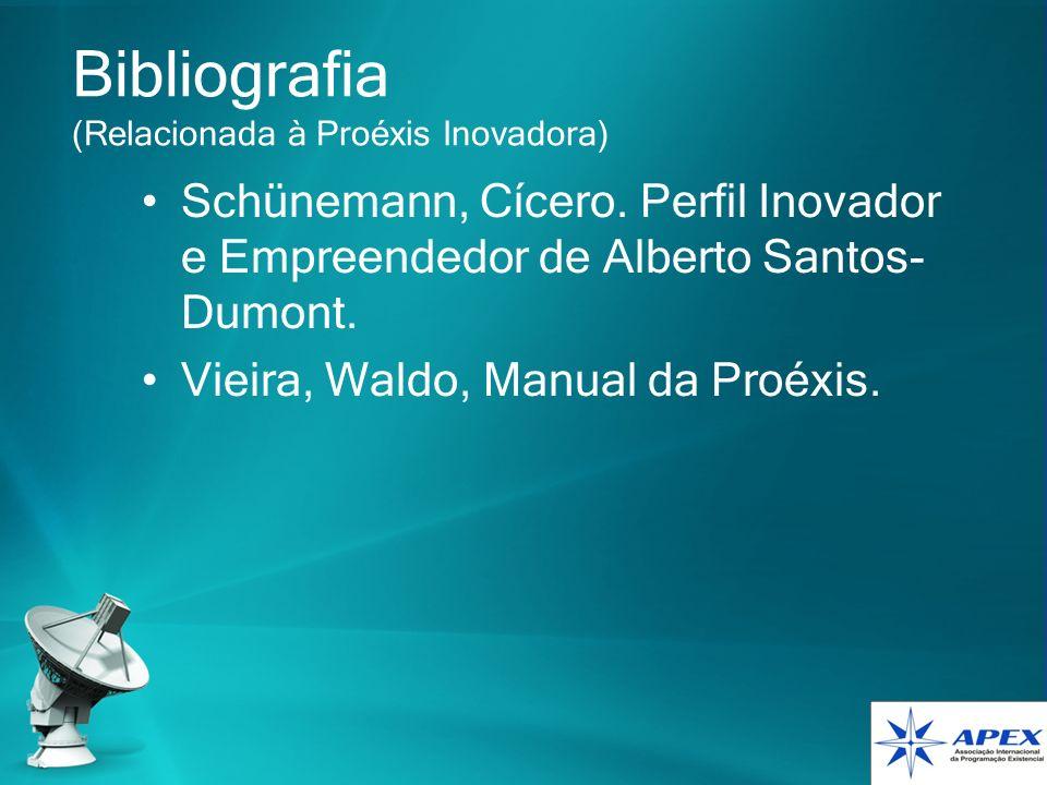 Bibliografia (Relacionada à Proéxis Inovadora) Schünemann, Cícero. Perfil Inovador e Empreendedor de Alberto Santos- Dumont. Vieira, Waldo, Manual da