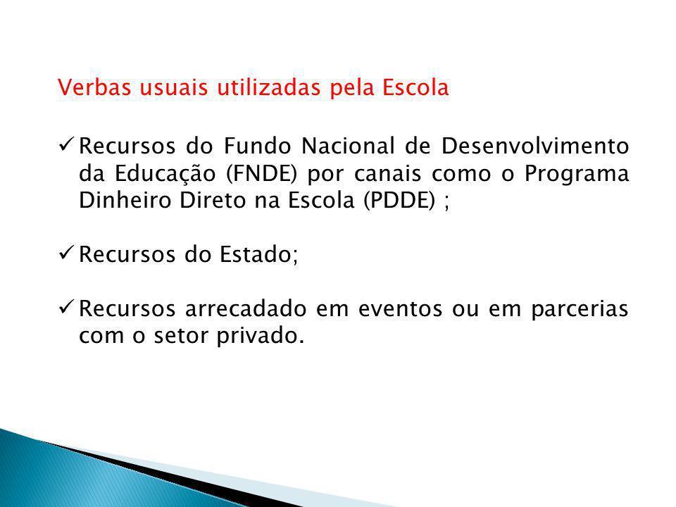 Verbas usuais utilizadas pela Escola Recursos do Fundo Nacional de Desenvolvimento da Educação (FNDE) por canais como o Programa Dinheiro Direto na Escola (PDDE) ; Recursos do Estado; Recursos arrecadado em eventos ou em parcerias com o setor privado.