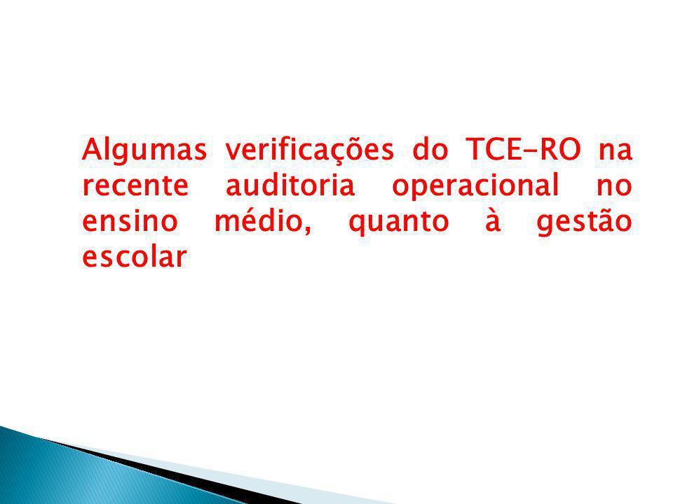 Algumas verificações do TCE-RO na recente auditoria operacional no ensino médio, quanto à gestão escolar