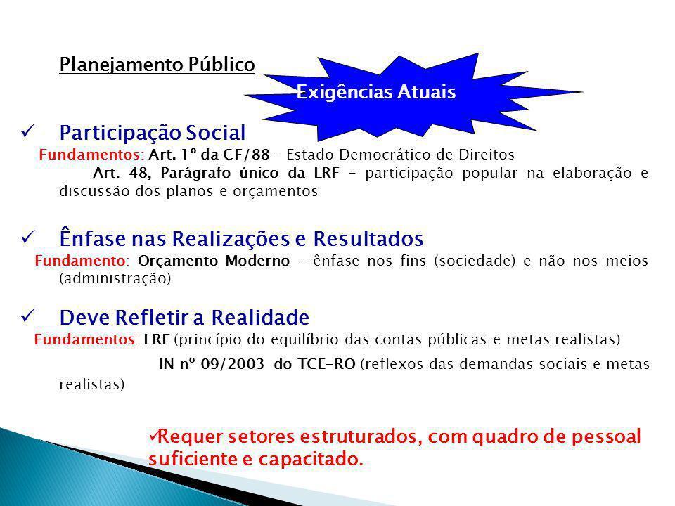 Planejamento Público Exigências Atuais Participação Social Fundamentos: Art.