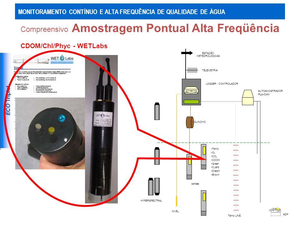 Compreensivo Amostragem Pontual Alta Freqüência ADP AUTOAMOSTRADOR FLowCAM HYPERSPECTRAL GUINCHO ESTAÇÃO METEOROLÓGICAS TELEMETRIA sondas Temp O 2 CO 2 CDOM Green Cyano Diatom Brown NÍVEL LOGGER / CONTROLADOR Temp LINE MONITORAMENTO CONTÍNUO E ALTA FREQUÊNCIA DE QUALIDADE DE ÁGUA Auto Amostrador - ISCO