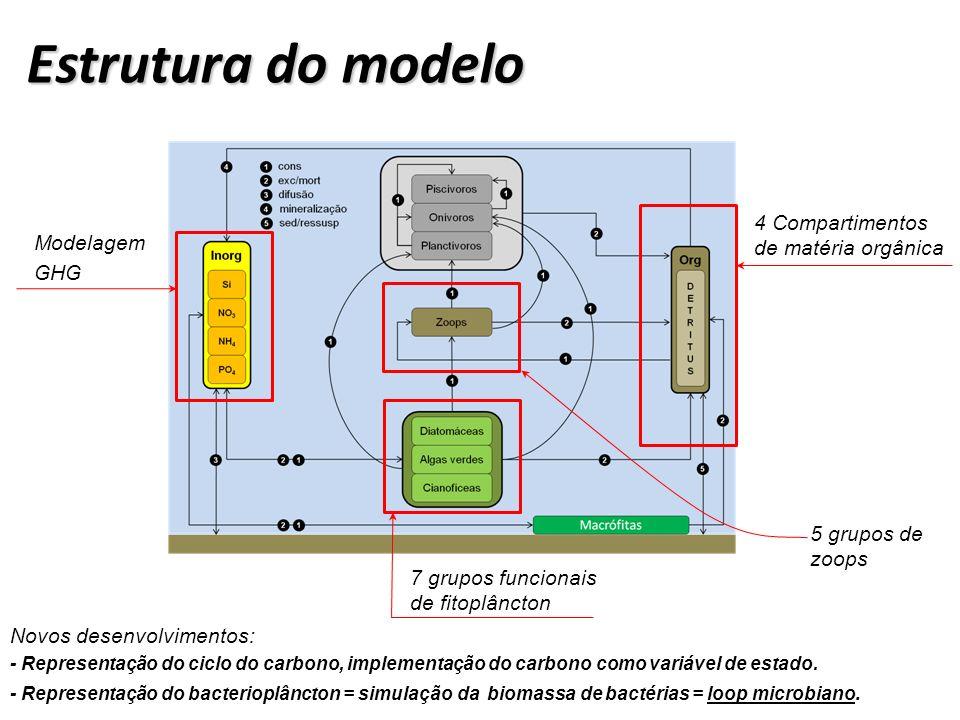 x y z IPH-TRIM3D-PCLake: Modelo hidrodinâmico-ecológico para lagos e reservatórios Código desenvolvido e aperfeiçoado desde 2005.