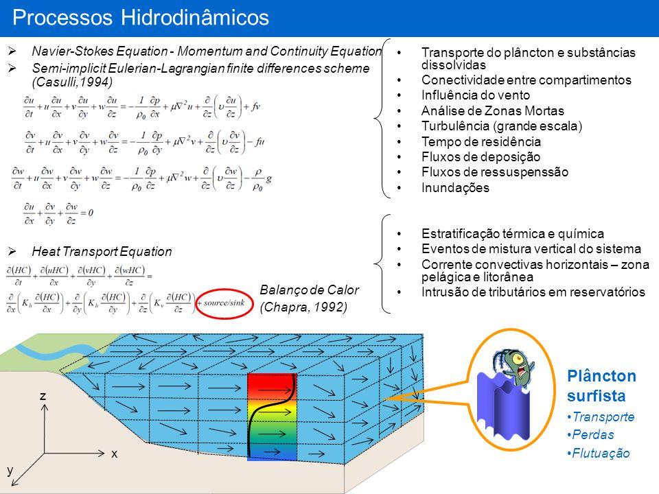 NH 4 NO 3 PO 4 DICIM RPOMRDOM Allochtonous Organic Matter LPOMLDOM Autochtonous Organic Matter RPOM RDOM LPOM LDOM NH4NO3PO4DIC IM Processos sedimento-água Processos ar-água Hidrólise (POM => DOM) Mineralização (Bac = 0) (OM=>IM) Nitrificação/Denitrificação Adsorção/Desorção Fósforo Diagenesis temporal advection Turbulent diffusion Interstitial Water Porosity = f(Sed) Top Sediment Composition (10c m) SiO 2 Nit Denit O2O2 Dif CO 2 Dif Hyd Phot Sed Ressuspension Difusion Ressuspension Ads/Des Inorganic Pools First Order Kinetics Miner Processos Físico-Químicos OD