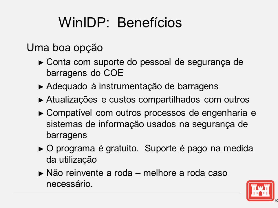 WinIDP: Benefícios Uma boa opção Conta com suporte do pessoal de segurança de barragens do COE Adequado à instrumentação de barragens Atualizações e c