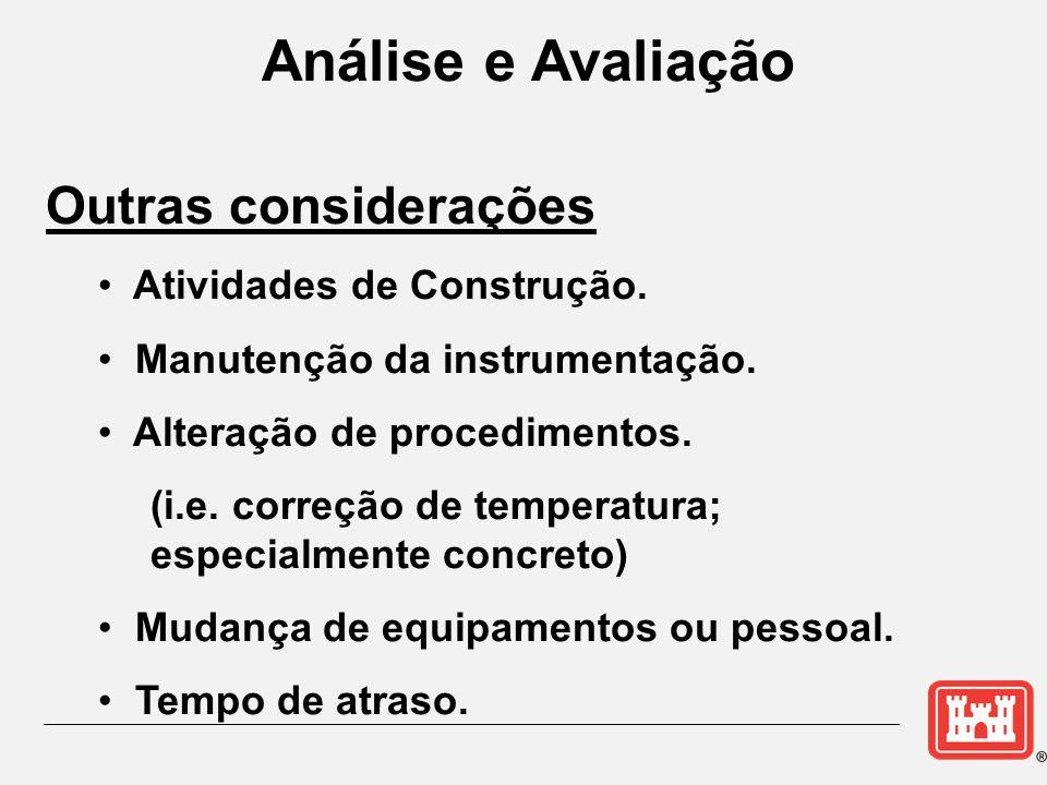 Análise e Avaliação Outras considerações Atividades de Construção. Manutenção da instrumentação. Alteração de procedimentos. (i.e. correção de tempera