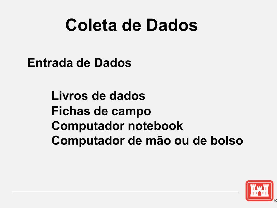 Coleta de Dados Entrada de Dados Livros de dados Fichas de campo Computador notebook Computador de mão ou de bolso