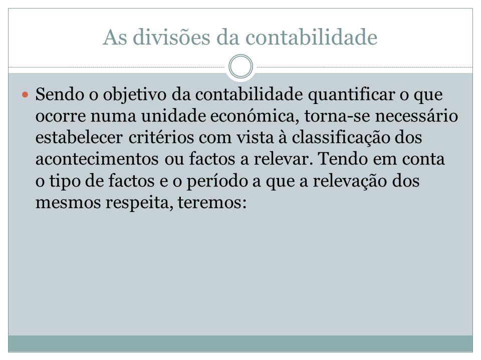 As divisões da contabilidade Sendo o objetivo da contabilidade quantificar o que ocorre numa unidade económica, torna-se necessário estabelecer critér