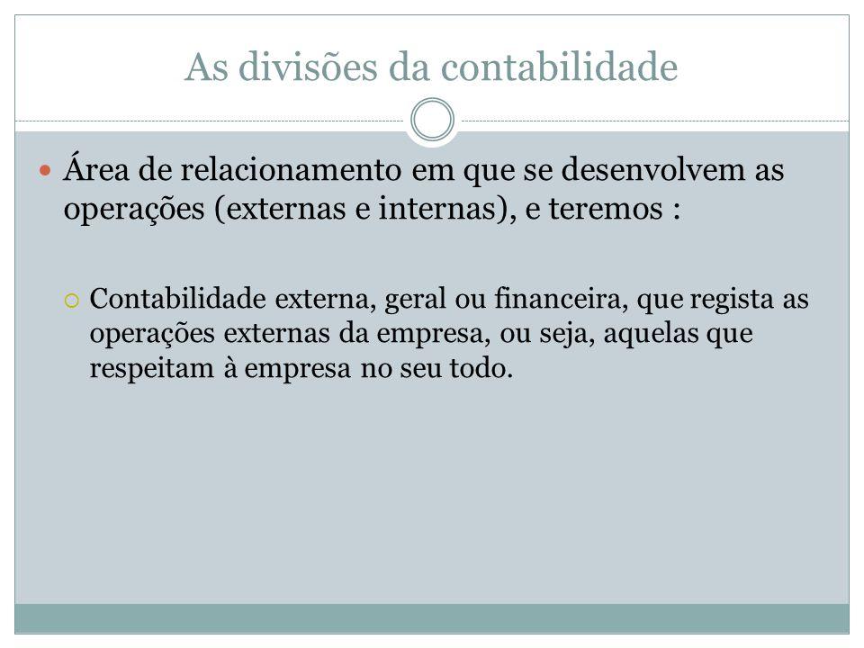 As divisões da contabilidade Área de relacionamento em que se desenvolvem as operações (externas e internas), e teremos : Contabilidade externa, geral