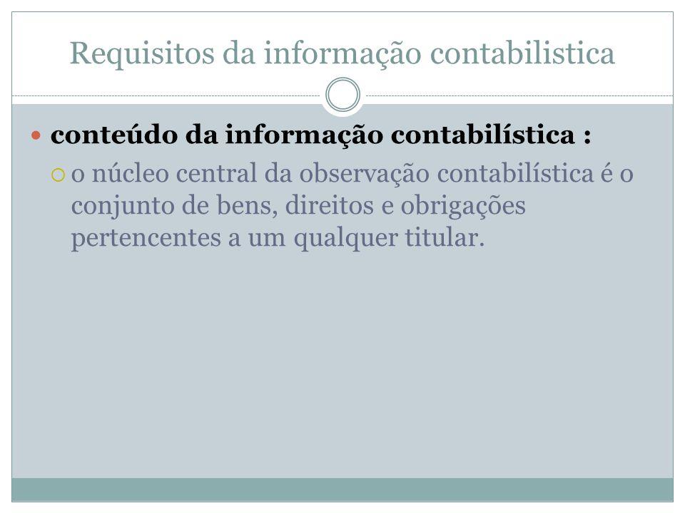 Requisitos da informação contabilistica conteúdo da informação contabilística : o núcleo central da observação contabilística é o conjunto de bens, di