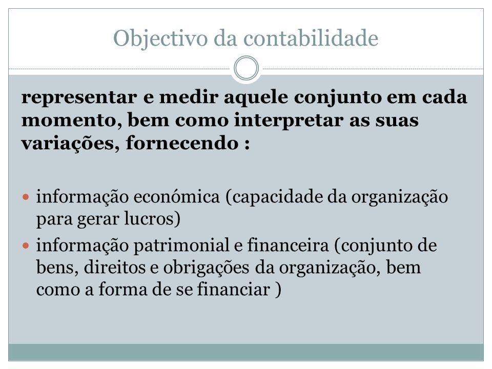 Objectivo da contabilidade representar e medir aquele conjunto em cada momento, bem como interpretar as suas variações, fornecendo : informação económ
