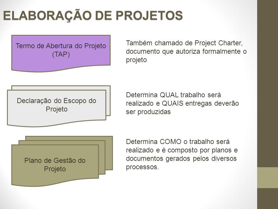 7 STEPS APLICATION ELABORAÇÃO DE PROJETOS Plano de Gestão do Projeto Termo de Abertura do Projeto (TAP) Declaração do Escopo do Projeto Também chamado