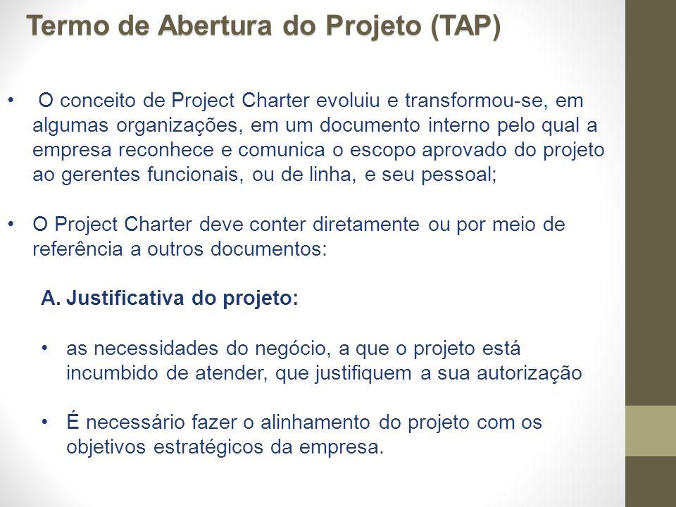 O conceito de Project Charter evoluiu e transformou-se, em algumas organizações, em um documento interno pelo qual a empresa reconhece e comunica o es