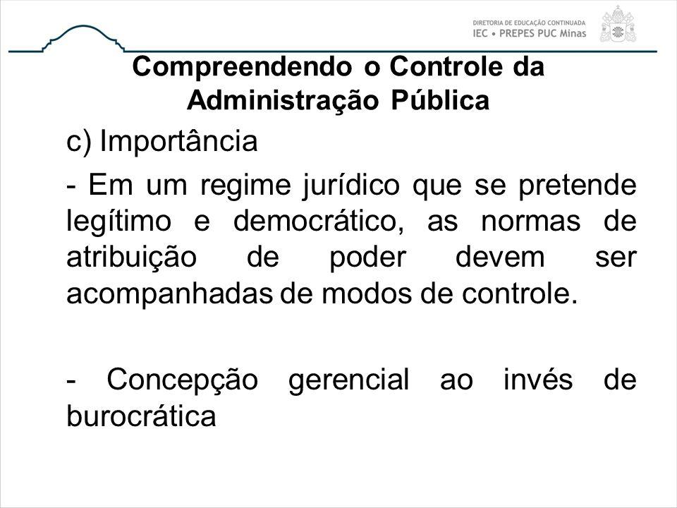 Compreendendo o Controle da Administração Pública c) Importância - Em um regime jurídico que se pretende legítimo e democrático, as normas de atribuiç