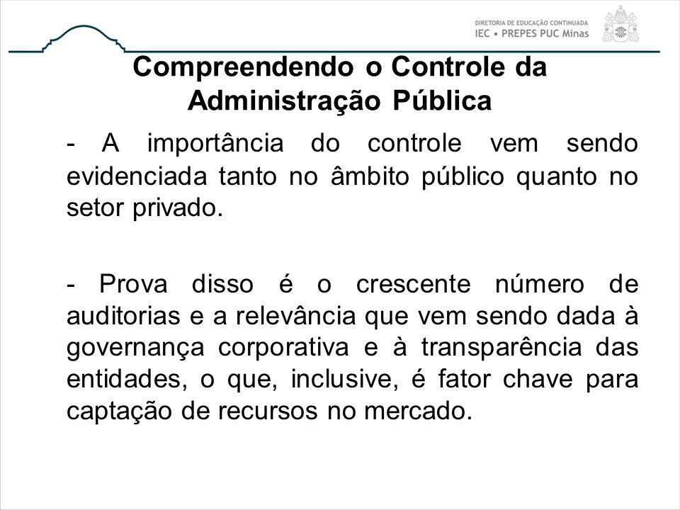 Compreendendo o Controle da Administração Pública - A importância do controle vem sendo evidenciada tanto no âmbito público quanto no setor privado. -