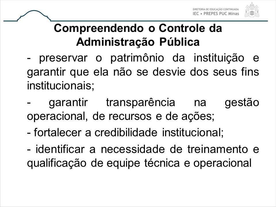 Compreendendo o Controle da Administração Pública - preservar o patrimônio da instituição e garantir que ela não se desvie dos seus fins institucionai