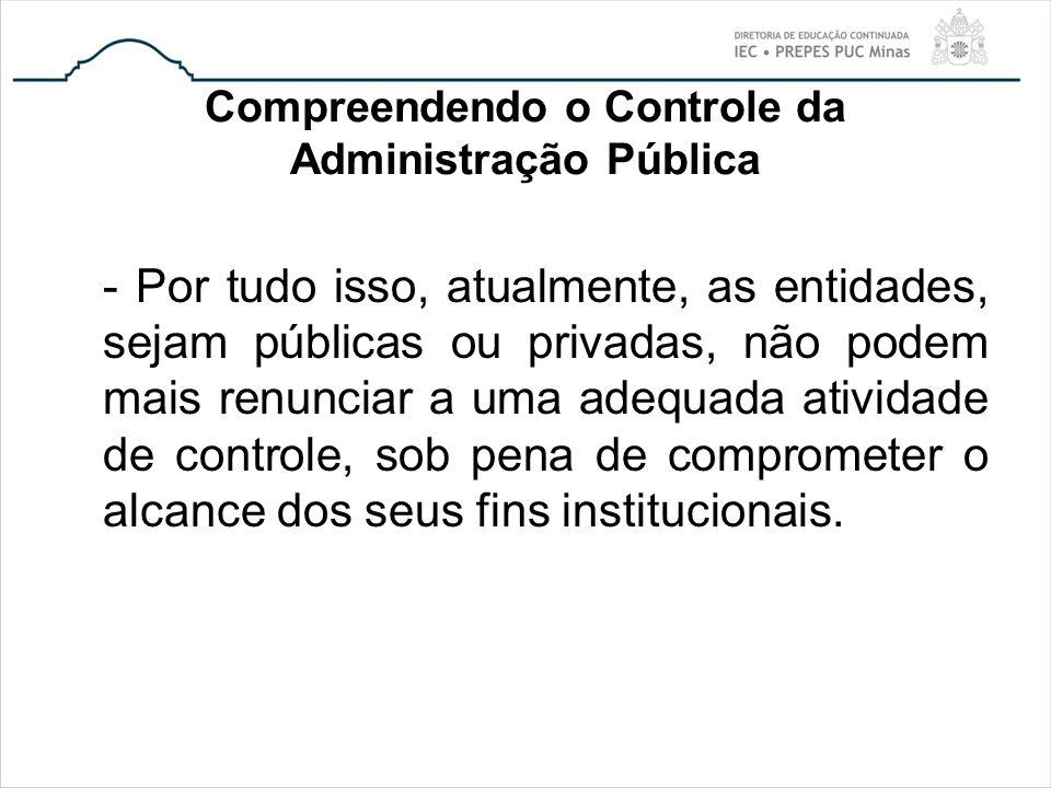Compreendendo o Controle da Administração Pública - Por tudo isso, atualmente, as entidades, sejam públicas ou privadas, não podem mais renunciar a um